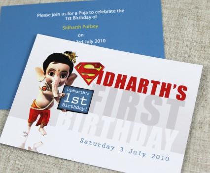 Ganesh Superman Birthday Invitation