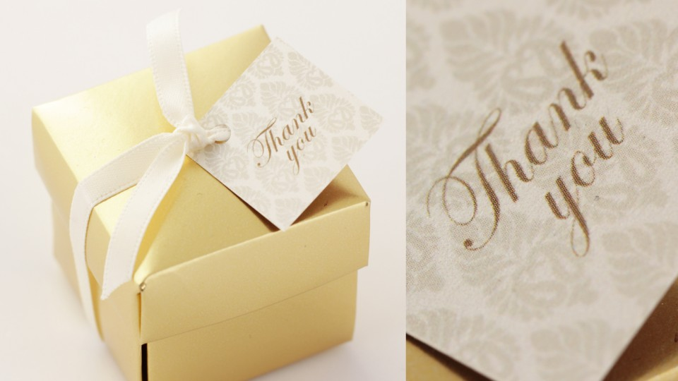 Gold Favour Box with Tag