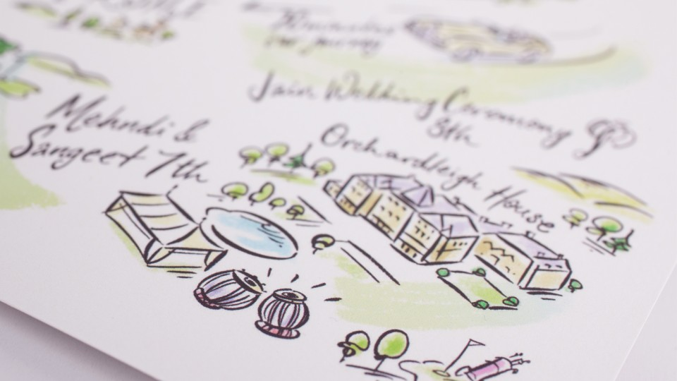 Illustrated Save the Date Map