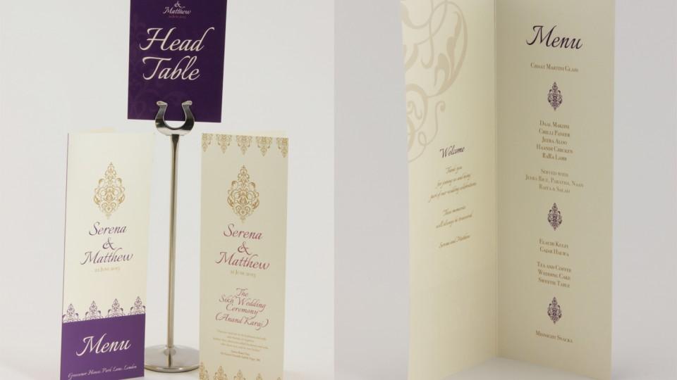 Menu, Table Name & Ceremony Card